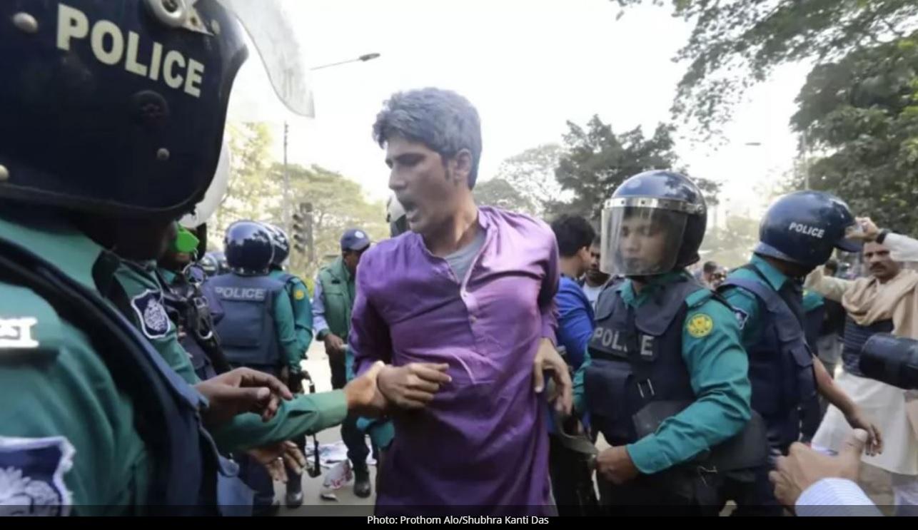 ダッカ市内で野党の抗議行動