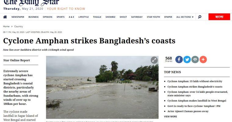 サイクロン「アンファン」がバングラに上陸、少なくとも7人が死亡、100万人以上の家で停電