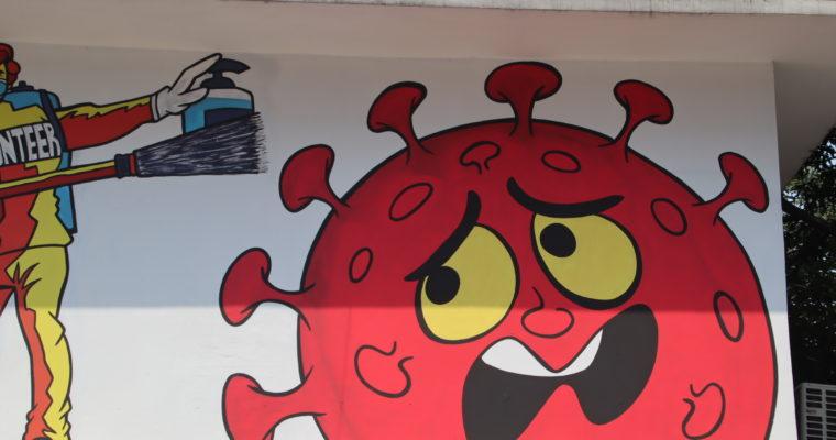 新型コロナウイルス撲滅の願いを込めた壁画@ダッカ・グルシャン2