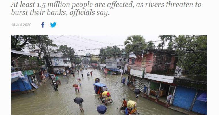 バングラデシュの洪水被害、国土の3分の1が浸水、150万人以上に影響