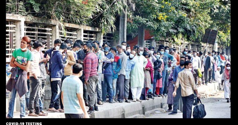 バングラデシュ、コロナ検査に大行列
